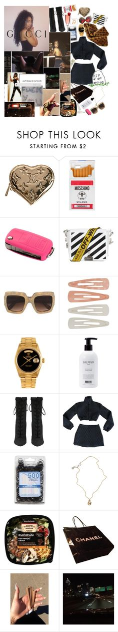 """""""i'll be undressed in α brα αll see through, while you count yα jewels thinkin immα cheαt you, the only one thing I wαnnα do is freαk you 😝"""""""" by s-emishooter ❤ liked on Polyvore featuring Louis Vuitton, Moschino, BP., Off-White, Gucci, Forever 21, Rolex, Balmain and Jessica de Lotz Jewellery"""