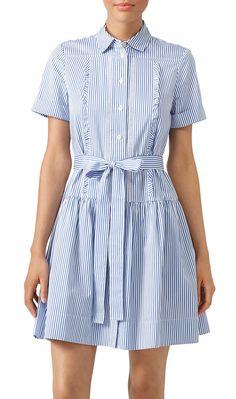 Kate Spade Pinstripe Pleated Shirtdress