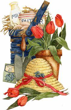 Garten, Kräuter - Garden and Herbs - Jardin et fines herbes Decoupage Vintage, Decoupage Paper, Tole Painting, Painting & Drawing, Vintage Cards, Vintage Images, Country Art, Country Life, Country Living