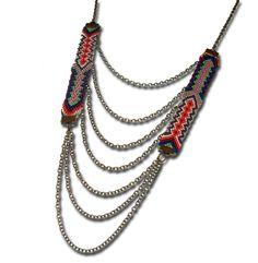 Colliers longs, long collier friendship brésilien bleu orange vert est une création orginale de chiaradeco sur DaWanda