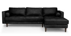 Sven Oxford Black Right Sectional Sofa