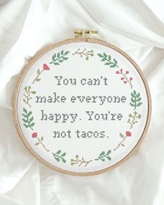 Yey everyone! Who's up for tacos? 🙋♀️ The Folklore Company brings embroidery into the Century. Modern, contemporary, fun quotes and kits. Buy as a DIY kit or ready-made. Funny Embroidery, Modern Embroidery, Hand Embroidery, Embroidery Ideas, Cross Stitching, Cross Stitch Embroidery, Cross Stitch Designs, Cross Stitch Patterns, Naughty Cross Stitch