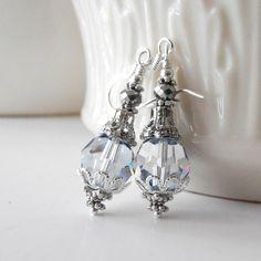 Ice Blue Bridesmaid Earrings Pale Blue Crystal by FiveLittleGems, $17.00