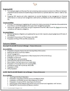 Example Template of an Experienced Chartered Accountant Resume ...
