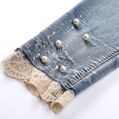 Pencil Jeans woman seven ripped skinny jeans pearl with lace leg cuff . Pencil Jeans woman seven ripped skinny jeans pearl with lace leg cuff pants pantalones vaqueros muj Denim And Lace, Blue Denim, Cuffed Pants, Ripped Skinny Jeans, Women's Jeans, Trousers, Diy Clothing, Sewing Clothes, Jean Diy