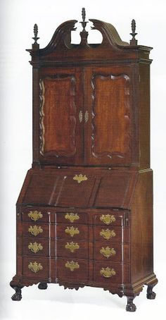 An Important Chippendale Carved & Figured Mahogany bonnet-Top Block-Front Desk & Bookcase, Signed John Chipman, Salem, Massachusetts, Circa 1785.  Height 8ft.  6in. by width 42in. by depth 23in.