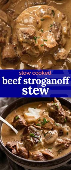 Slow Cooker Beef Stroganoff Stew An incredible slow cooked beef that's fall-apart tender smothered in a creamy Stroganoff sauce with buttery garlic mushrooms, it's made with economical stewing beef yet tastes like a million bucks! Slow Cooker Recipes, Crockpot Recipes, Cooking Recipes, Slow Cooking, Mushroom Stew, Recipetin Eats, Slow Cooked Beef, Beef Dishes, Garlic Mushrooms