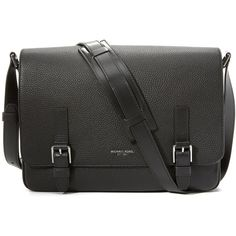 Michael Kors Bryant Pebbled Leather Large Messenger Bag (650 AUD) ❤ liked on Polyvore featuring men's fashion, men's bags, men's messenger bags, black and michael kors mens messenger bag