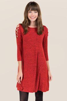 Carolynn Lattice Shoulder Marled Knit Dress- Red
