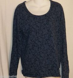 Faded Glory Top Size Large 12-14 Blue Black New Scoop Neck Tee Long Sleeves free shipping $10.00