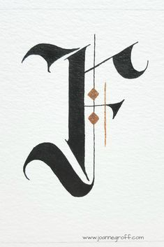This hand lettered Gothic style letter F is part of a watercolor and ink style study by Joanne Groff at The Painted Pen. The Effective Pictures We Offer You About Gothic Style boy A quality picture ca Calligraphy Letters Alphabet, Hand Lettering Alphabet, Arabic Calligraphy Art, Calligraphy Handwriting, Gothic Lettering, Tattoo Lettering Fonts, Graffiti Lettering, Lettering Design, Lettering Styles