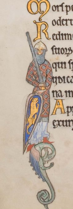 Heh, I did a scroll with this image before. The Hunterian Psalter. Sp Coll MS Hunter folio historiated initial I depicting a crusader (psalm Medieval Books, Medieval Life, Medieval Manuscript, Medieval Art, Illuminated Letters, Illuminated Manuscript, Arte Latina, High Middle Ages, Illumination Art