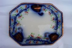 Antique Ironstone FLOW BLUE Gaudy Welsh Copper Luster Platter Dutch #GaudyWelsh