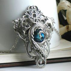 Celestial Maelstrom Aged Silver and Swarovski Necklace - Fantasy - Silver - Blue - Water - Wedding - Bridal - Dragon