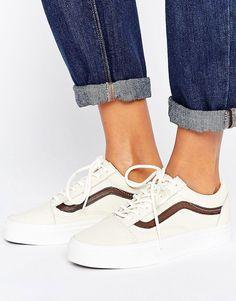 efd6f00602 Vans Old Skool Trainers In Premium Cream And Tan Leather - Cream