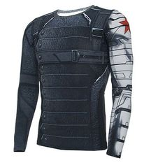 Winter Soldier Bucky Barnes Long Sleeves 3D T-Shirts Captain America 3 Costumes