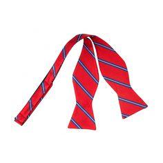 Red Blue White Striped Self-Tie Bow Tie www.vonfloerke.com