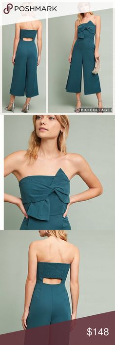 New! Anthropologie Beatty Strapless Jumpsuit New! Anthropologie Beatty Strapless Jumpsuit • Teal/Green • Size 2 • Brand New with Tags • Details in the description • Anthropologie Pants Jumpsuits & Rompers