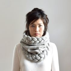 Super Chunky Cowl Scarf Cable Knit Infinity Scarf Warm Winter Scarf Snood Scarf (128.00 USD) by IRISMINT