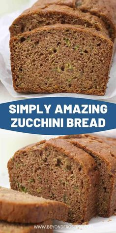 You'll love this easy zucchini bread. It's light, fluffy, moist and with a cinnamon spice flavor and only 1 mixing bowl required! Muffin Recipes, Baking Recipes, Dessert Recipes, Desserts, Frosting Recipes, Bread Recipes, Easy Zucchini Bread, Quick Bread, Healthy Zucchini