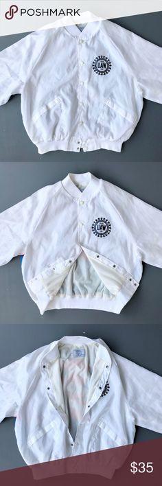 872c078cd740 Vintage Pro Fit Mens Silk Bomber Jacket Size XL Mens Size XL White American  Flag/