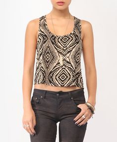 Cropped Abstract Print Top | FOREVER21 - 2000042580