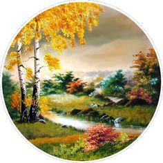 1 непрочитанный чат Beautiful Landscape Wallpaper, Beautiful Paintings, Beautiful Landscapes, Landscape Drawings, Landscape Paintings, Stone Painting, Artist Painting, Circle Canvas, Bob Ross Paintings