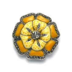 Amazon.com: Sterling Silver Yellow Enamel and Marcasite Flower Brooch: Jewelry