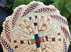 Ornamental Corn by Twisted Spokes : Hand Woven Basket, Twined Basket, Waxed Linen, Cotton Cord, Handwoven