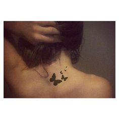 Butterfly Tattoos on Neck Worlds Style ❤ liked on Polyvore featuring accessories