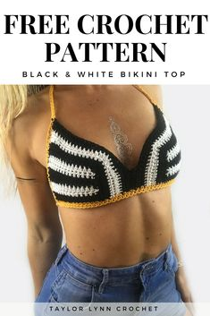 Striped Crochet Bikini Top Pattern - Black & White - Crochet Halter Pattern Learn the fact (generic Shorts Crochet, Top Crop Tejido En Crochet, Crochet Bikini Top, Crochet Clothes, Crochet Outfits, Black And White Bikini, Black White, Crop Top Pattern, Bikini Sets