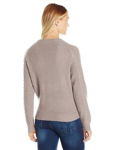Noisy May Women's Cranium O-Neck Cable Sweater at Amazon Women's Clothing store: