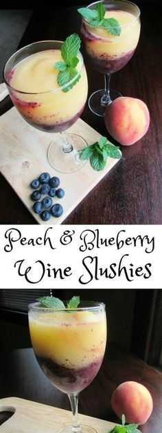 These Peach and Blueberry Wine Slushies are perfect for sipping on a hot summer's day. They come together in a minute and take the edge of the heat! #SundaySupper