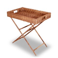 Wonderweave Brown Wicker Tray With Stand