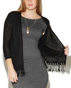 3/4 Sleeve Fringe Wrap - Wet Seal #fringe #crochet #black