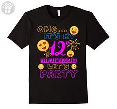 Mens 12 Year Old Awesome Kids Shirts Kids 12th Birthday Emoji Medium Black - Birthday shirts (*Amazon Partner-Link)