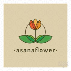 The logo depicts a simple symmetrical flower resembling a human yoga posture. Key words and ideas: calm, calmness, concentrate, meditation, meditate, sit, relax, health, holistic, practice, Indian, posture, position, nature, green, pure, body, mind, peace, peaceful, spring, new, beginning, clean, energy, flow, florist, floriculture, bouquet, beauty, spa.