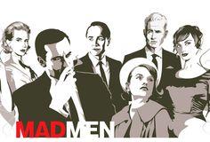 """Don Draper, son épouse Elizabeth """"Betty"""" Draper, Peggy Olson, Pete Campbell, Joan Holloway et Roger Sterling, principaux personnages de la série Mad Men."""