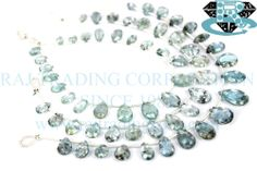 Moss Aquamarine Faceted Pear (Quality AA) Shape: Pear Faceted Length: 18 cm Weight Approx: 6 to 8 Grms. Size Approx: 5x8 to 8x12 mm Price $30.80 Each Strand