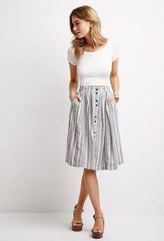 Life in Progress Pleated Multi-Stripe Skirt from FOREVER 21 on Catalog Spree - Summer Outfits Modest Outfits, Modest Fashion, Cute Outfits, Work Outfits, Apostolic Fashion, Skirt Fashion, Boho Work Outfit, Apostolic Style, Casual Outfits