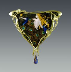 """Peacock Robe"" Brooch by Larissa Enamels - Enamel, 18k gold, diamond, Boulder Opal"