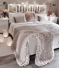 Cozy Bedroom, Trendy Bedroom, White Bedroom, Home Decor Bedroom, Modern Bedroom, Bedroom Furniture, Contemporary Bedroom, Lux Bedroom, White Furniture