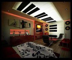 I'm done. This is sooooo coooooll. aahhhhhh. False Ceiling Design, False Ceiling Living Room, Bedroom Ceiling, Light Bedroom, Music Inspired Bedroom, Music Bedroom, Music Theme Bedrooms, Teen Bedroom Designs, Bedroom Themes