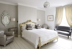 peaceful bedroom grey and gold. Grey And Gold Bedroom, Grey Room, Peaceful Bedroom, Dream Bedroom, Master Bedroom, White Wood Floors, Grey Walls, Bedroom Decor, Bedroom Storage