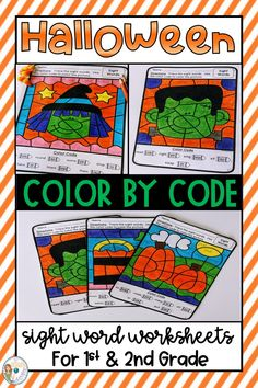 Keep first and second graders engaged this Halloween with these fun color by code sight word worksheets. Students in and grade will love working on their fine motor skills while practicing their sight words and handwriting. These are perfect for a Teaching Reading, Fun Learning, Sight Word Worksheets, Primary Classroom, Halloween Coloring, Teaching Strategies, Creative Teaching, Sight Words, Coloring Sheets