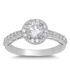 Womens Sterling Silver Round CZ Wedding Engagement Ring Size 5 6 7 8 9 10  #Unbranded #SolitairewithAccents
