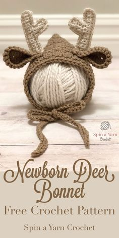 Newborn Deer Bonnet - Spin a Yarn Crochet
