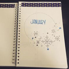 Bullet journal monthly cover page, January cover page, winter bullet journal theme, snowflake drawings. @ajourneyofjournals