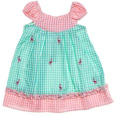 Seersucker Flamingo Sundress (2T-4T)