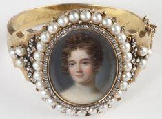 ANTIQUE PORTRAIT BRACELET ~ Enamel portrait surrounded by pearls, set in gold. 19th century.